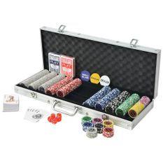 Jeu de poker avec 500 jetons laser aluminium