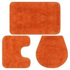 Jeu de tapis de salle de bain 3 pcs Tissu Orange