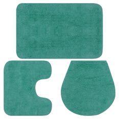 Jeu de tapis de salle de bain 3 pcs Tissu Turquoise