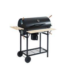JOHN Barbecue a charbon avec couvercle type fumoir - 2 roues + tablettes - 70,5 x 37 cm - Noir