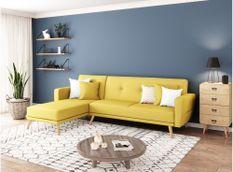 Canapé d'angle scandinave réversible et convertible tissu jaune Nolan 235 cm