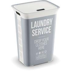 KIS Coffre a linge Laudry Service Chic Style - 60 l - Gris et blanc
