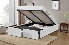 Cadre de lit avec coffre et 2 tiroirs 140x190 cm simili cuir blanc mat Karmi