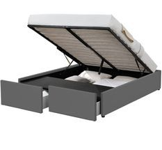 Cadre de lit avec coffre et 2 tiroirs 140x190 cm simili cuir gris mat Karmi