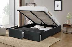 Cadre de lit avec coffre et 2 tiroirs 140x190 cm simili cuir noir mat Karmi