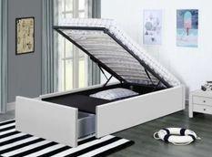 Cadre de lit avec coffre et 2 tiroirs 90x190 cm simili cuir blanc Karmi