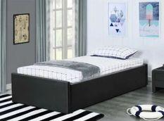 Cadre de lit avec coffre et 2 tiroirs 90x190 cm simili cuir noir mat Karmi