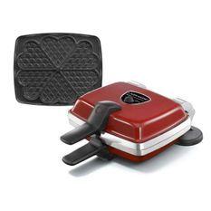 LAGRANGE Gaufrier Super 2 Antiadhésif - 1000W - 1 jeux de plaques : Gaufres coeur - Rouge