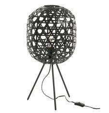 Lampe de table bambou et trépied métal noir Bialli