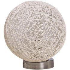 Lampe de table boule rotin blanc Jopun
