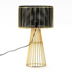 Lampe de table noir et pied métal doré Anissa H 53 cm