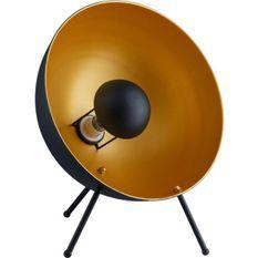 Lampe de table sur trépied métal doré et noir Gello