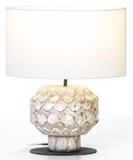 Lampe de table tissu et bois blanc vieilli Lavani