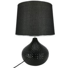 Lampe de table tissu et pied céramique noir Norina