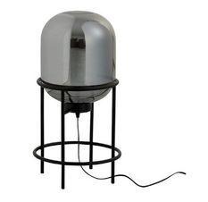 Lampe de table verre argenté et piétement métal noir Liath