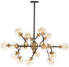 Lampe suspension 18 branches métal noir et doré Gary L 97 x H 75 x P 97 cm