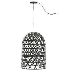 Lampe suspension bambou noir Bialli
