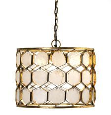 Lampe suspension métal doré et marbre blanc Galie L 46 x H 40 x P 46 cm
