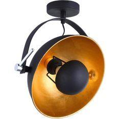 Lampe suspension métal doré et noir Zoffia