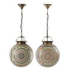 Lampe suspension verre multicolore Veeda D 31 cm - Lot de 2