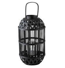 Lanterne cylindrique bambou noir Bialli