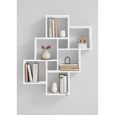 LAURIO 2 Etagere murale 6 compartiments - 81,5 x 94,5 x 16 cm - Panneau mélaminé - Décor blanc brillant
