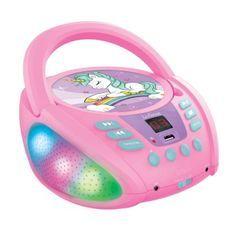 Lecteur CD Portable Bluetooth Licorne avec Effets Lumineux et USB