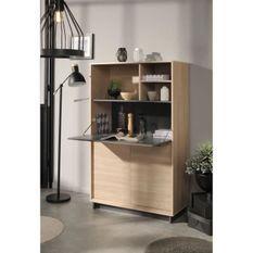 LINK Buffet de cuisine L 90 cm - Décor chene brooklyn et gris ombre