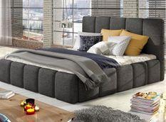 Lit 140x190 cm avec coffre de rangement et tête de lit tissu gris et laiton Vika