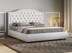 Lit 160x190 cm avec coffre et tête de lit avec boutons blanc Romencia