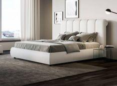 Lit 160x190 cm avec coffre et tête de lit capitonnée blanche Kosta