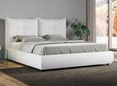 Lit 160x190 cm avec coffre et tête de lit coussins matelassés blanc Santa