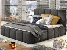 Lit 160x200 cm avec coffre de rangement et tête de lit tissu gris et laiton Vika