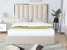 Lit 160x200 cm avec coffre de rangement et tête de lit velours gris et laiton Posta