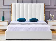 Lit 180x200 cm avec coffre de rangement et tête de lit simili blanc et laiton Pika
