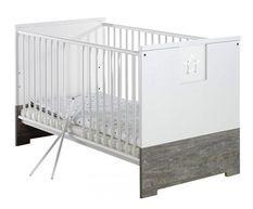 Lit 70x140 cm bois laqué blanc et gris Eco Star