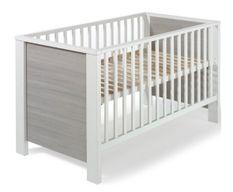 Lit 70x140 cm bois laqué blanc et pin gris Milano Pinie