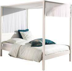 Lit à baldaquin 140x200 cm avec ciel de lit pin massif laqué blanc Pinie