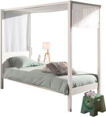 Lit à baldaquin 90x200 cm avec ciel de lit pin massif laqué blanc Pinie