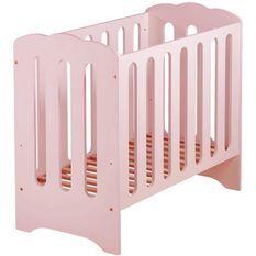 Lit à barreaux 50x100 cm bois massif rose Mini Nuage