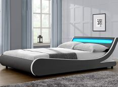 Lit à led 140x190 cm simili cuir gris liseré blanc Dorma