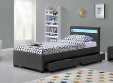 Lit à LED 4 tiroirs simili cuir gris mat Diana 90x190 cm