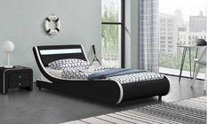 Lit à led 90x190 cm simili cuir noir liseré blanc Dorma