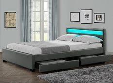 Lit à led avec 4 tiroirs simili cuir gris 140x190 cm Diana