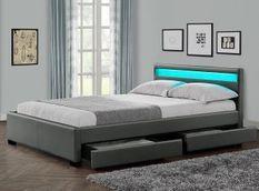 Lit à led avec 4 tiroirs simili cuir gris 160x200 cm Diana