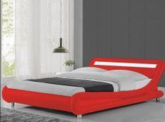 Lit à led similicuir rouge 140x190 cm Paula