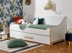Lit banquette gigogne 90x190 cm bois blanc et bouleau clair Boréal