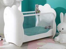 Lit bébé 60x120 cm plexiglas et bois blanc Altéa