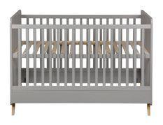 Lit bébé 70x140 cm bois gris et pieds hêtre massif Nalice