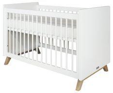 Lit bébé blanc et pieds hêtre clair Lynn 60x120 cm